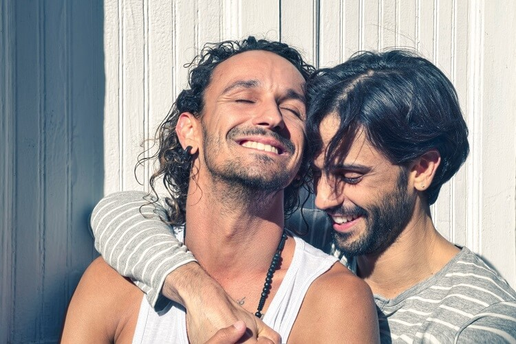 gay couple being happy